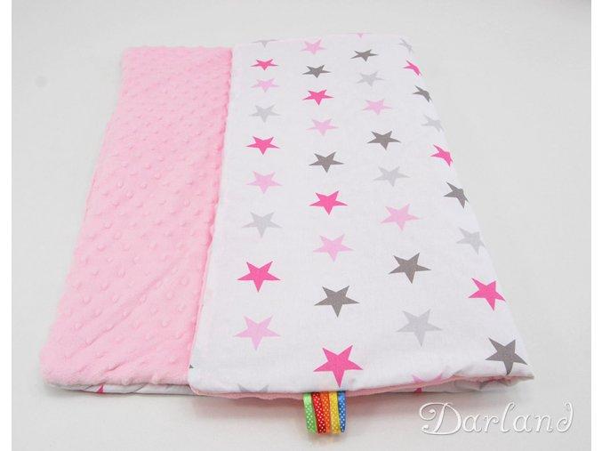 DARLAND Deka MINKY 75x100 Hvězdičky růžovo šedé/růžová