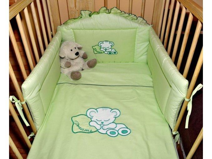 Dětské povlečení na polštář a přikrývku - luxusní sada zelená 135x100