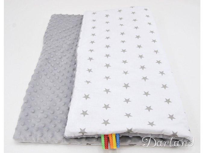 DARLAND Deka MINKY 75x100 letní Hvězdičky šedé na bílém/šedá