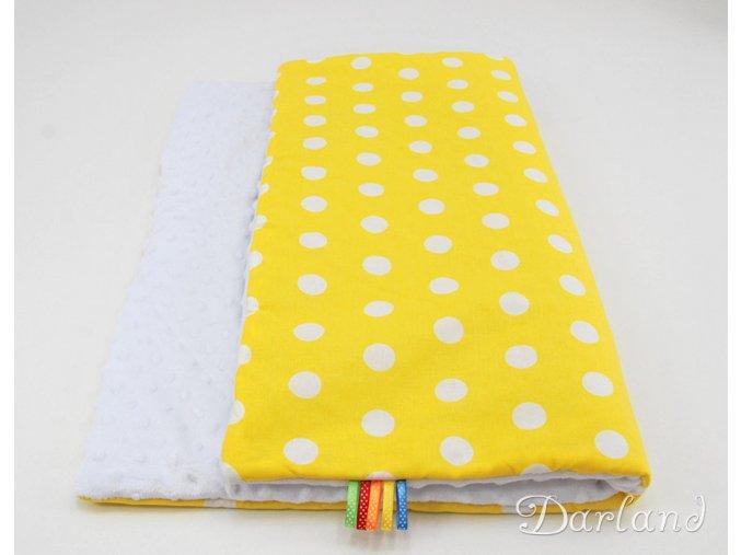 DARLAND Deka MINKY 75x100 Puntíky bílé na žlutém/bílá