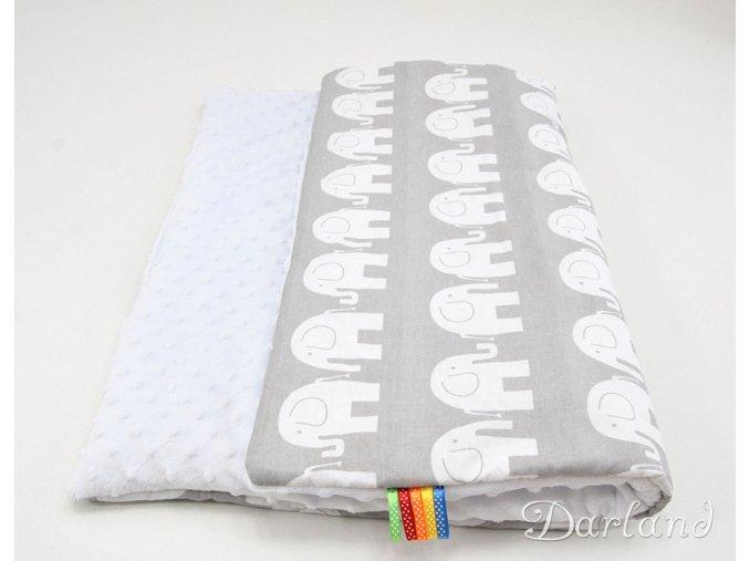 DARLAND Deka MINKY 75x100 Sloni na šedém/bílá