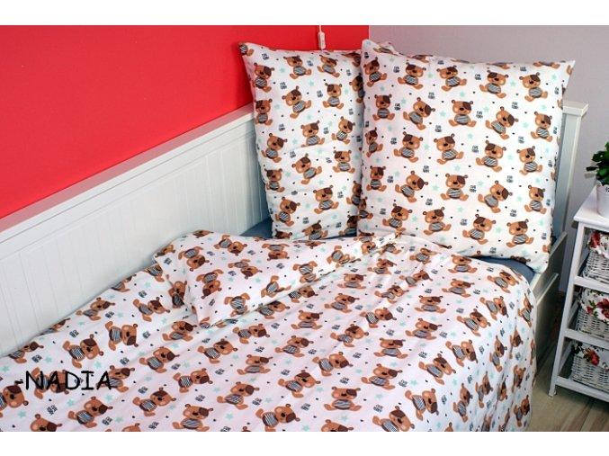 Dětské flanelové povlečení 140x200,70x90 Teddy hnědý