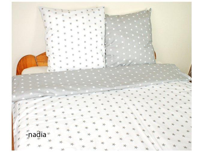 Dětské povlečení 140x200,70x80 Hvězdičky šedé/bílé