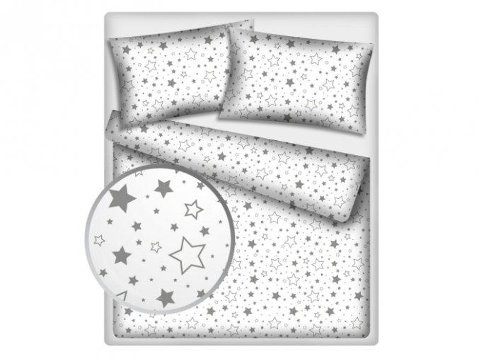 Dětské povlečení 140x200,70x90 Hvězdy mix šedé