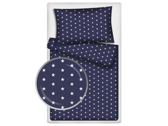 Dětské povlečení 140x200,70x90 Hvězdičky bílé podklad modrý