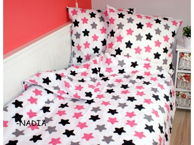 Dětské povlečení 140x200,70x90 Hvězdy růžovo šedo černé