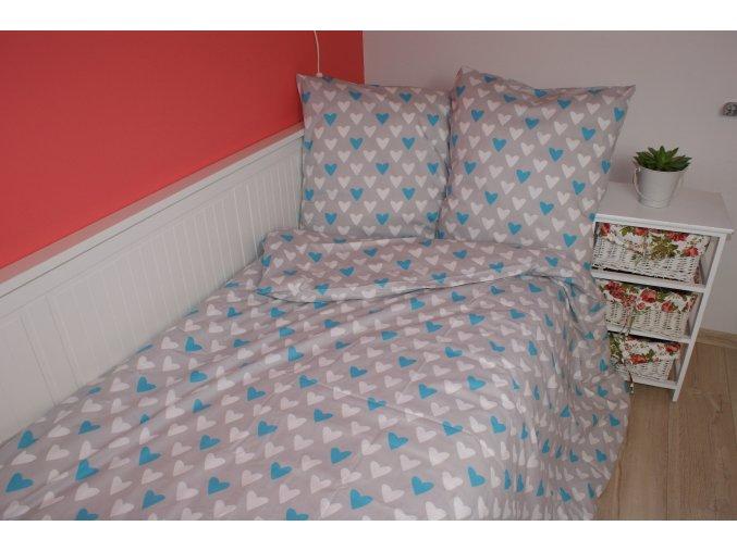Dětské povlečení 140x200,70x90 Srdíčka bílo modrá