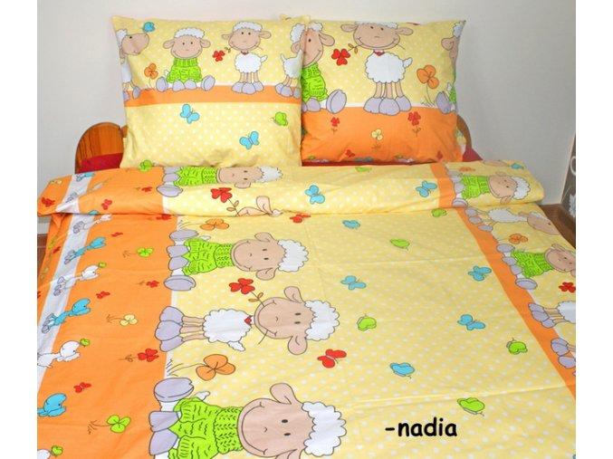 Dětské povlečení 140x200,70x90 Veselé ovečky v oranžovém