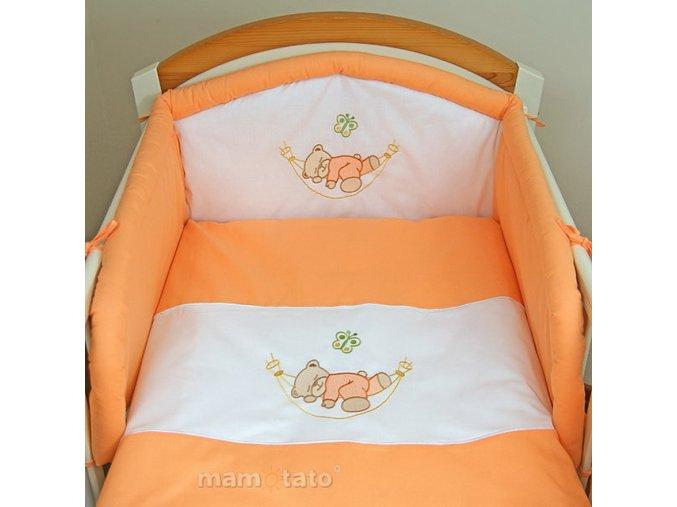 2-dílné povlečení Medvídek v hamaku oranžový 120x90