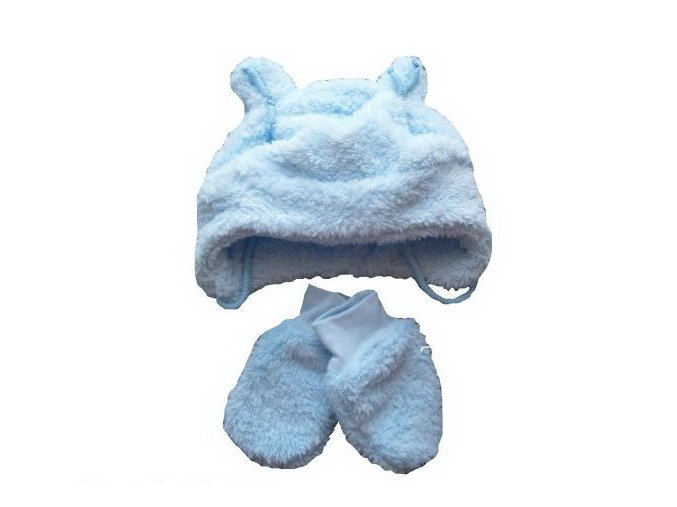 Chlupatá čepička a rukavičky modré vel. 56-62