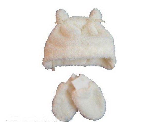 Chlupatá čepička a rukavičky smetanové vel. 62-68