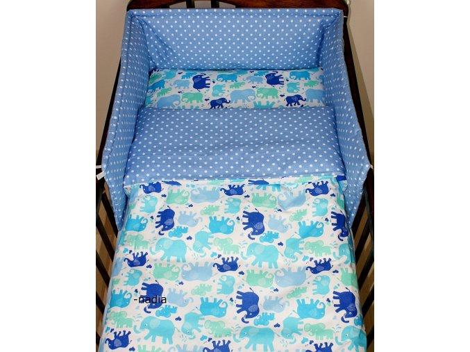2-dílné povlečení Sloníci modří/puntíky jeans 120x90