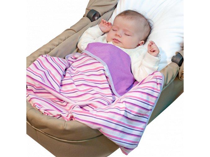 Letní deka Ines 75x100 fialová s proužky Baby Matex