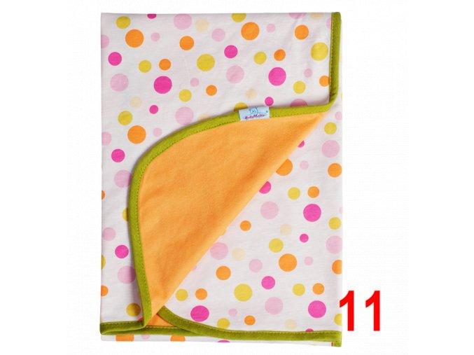Letní deka Ines 75x100 oranžovo žlutá s puntíky Baby Matex