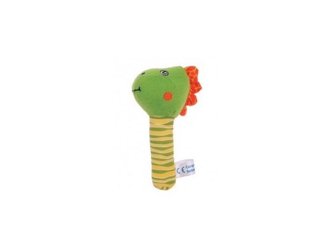 Plyšové chrastítko dino zelený