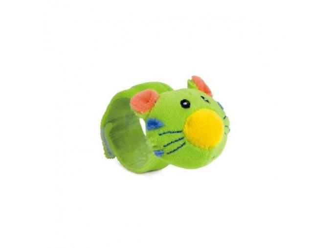 Plyšové chrastítko na ruku kočka