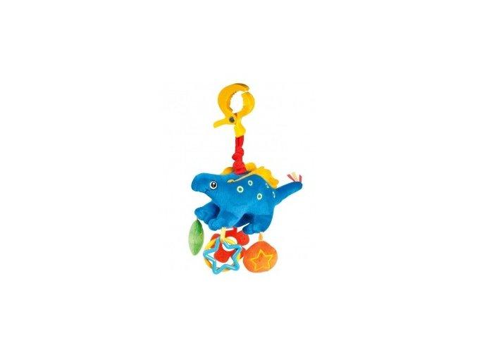 Plyšové chrastítko vibrační Dino modrý
