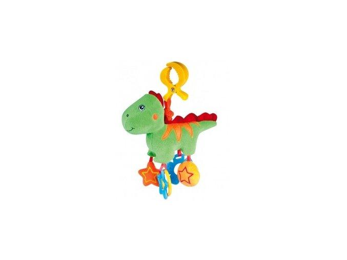 Plyšové chrastítko vibrační Dino zelený