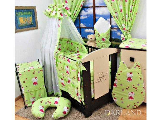 Dětské povlečení na polštář a přikrývku - zelené Kitty provedení