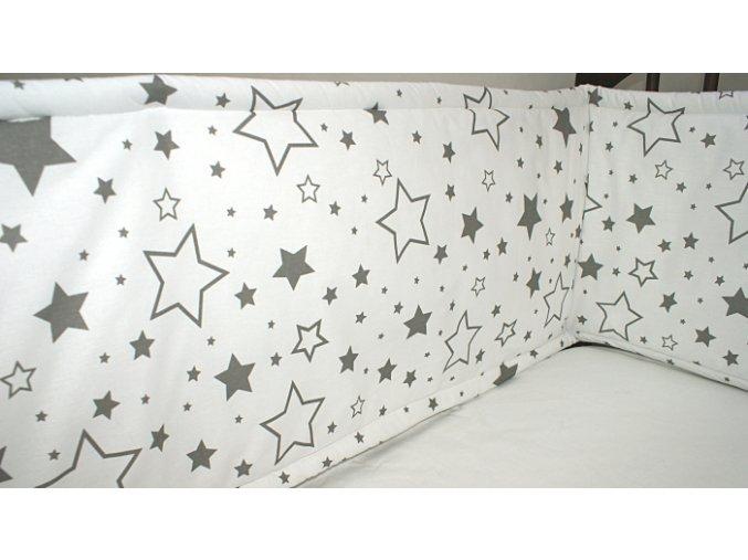 Nadia Rovný vysoký mantinel kolem celé postýlky Hvězdy mix šedé