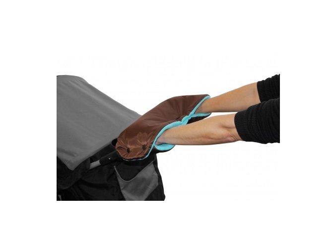 Rukávník ke kočárku hnědý/aqua Emitex