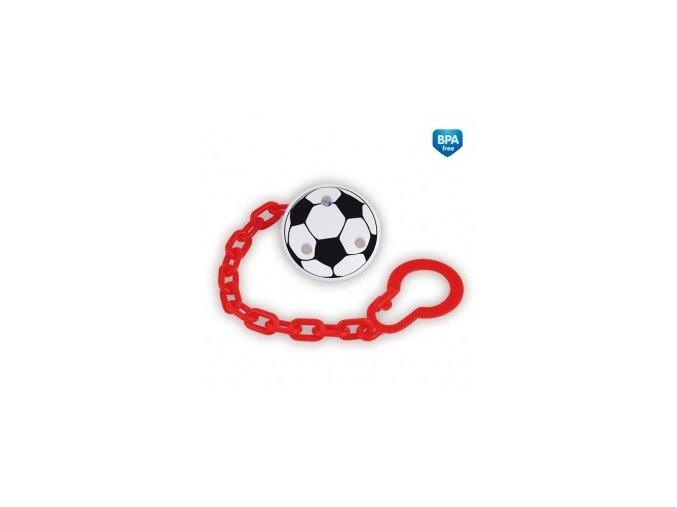 Řetízek na šidítko s potiskem Fotbal červený