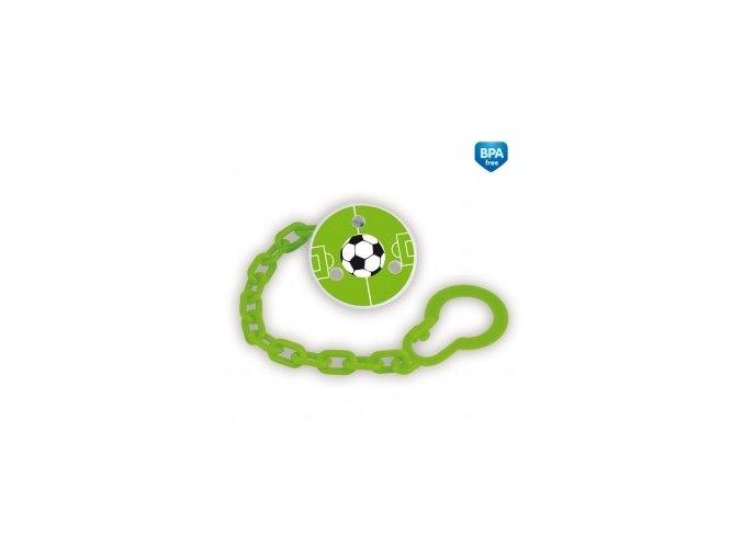Řetízek na šidítko s potiskem Fotbal zelený