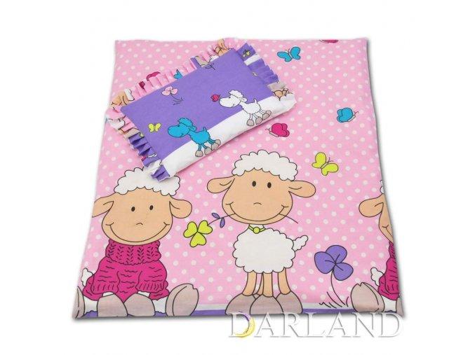 Sada do kočárku Veselé ovečky v růžovo fialové Darland