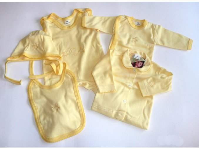 Souprava do porodnice s výšivkou 5-dílná žlutá