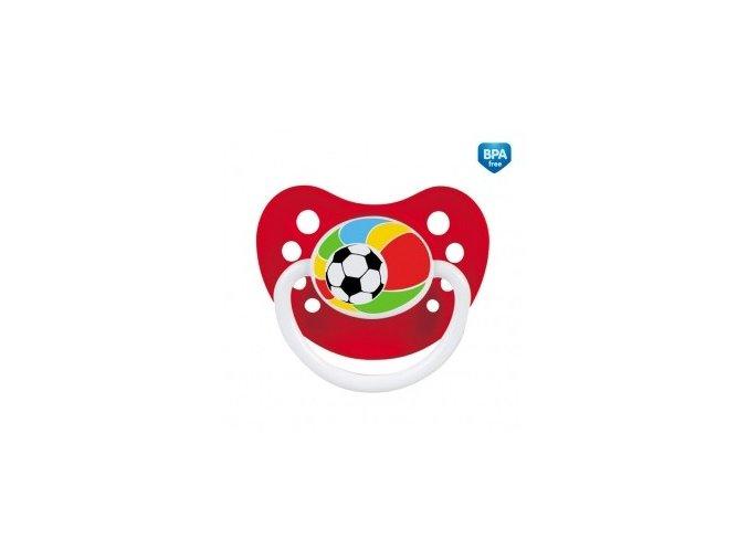 Šidítko silikonové anatomické 0-6m Fotbal červené
