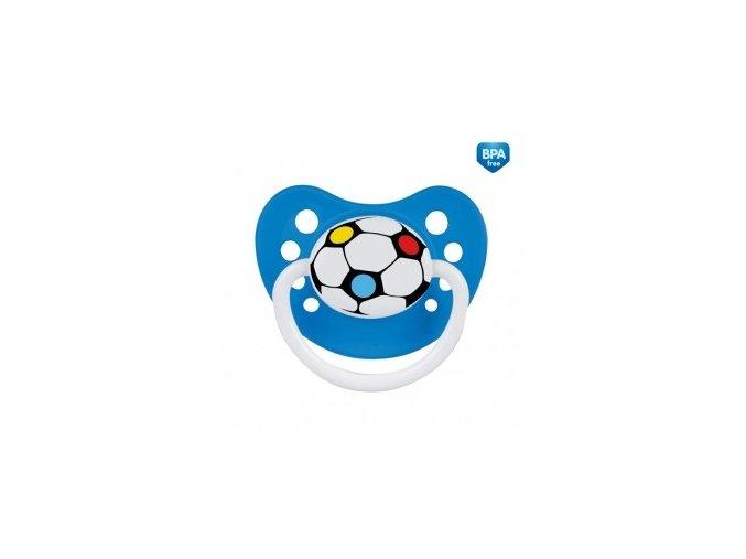 Šidítko silikonové anatomické 0-6m Fotbal modré
