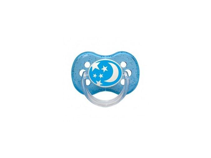 Šidítko silikonové třešinka Nature modré 0-6