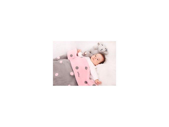Womar Dětská deka Zaffiro  75x100 Růžové/šedé puntíky