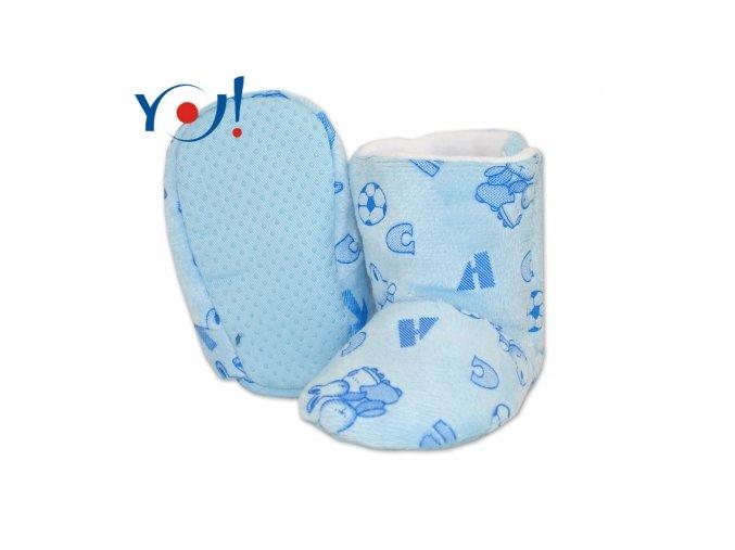 Zimní botičky fleece modré YO! 12-18 měsíců