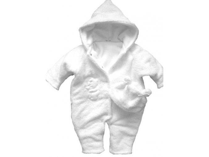 Zimní kombinéza - chlupatka bílá bez výšivky vel. 56-62