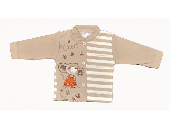 Bavlněný kabátek Mouse béžovo hnědý  vel.56