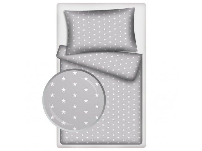 Dětské povlečení 140x200,70x80 Hvězdičky bílé na šedém