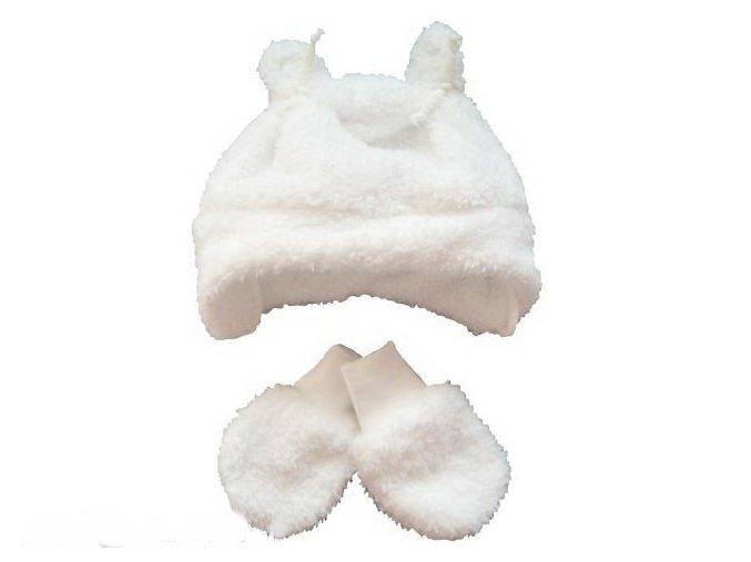 Chlupatá čepička a rukavičky bílé vel. 56-62