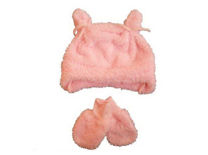 Chlupatá čepička a rukavičky růžové vel. 56-62