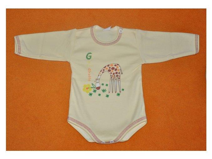 Bavlněné body Žirafka krémovo žlutá na trávě  vel. 62