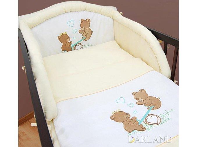 Darland 3-dílná sada s výšivkou medvídek na houpačce krémový
