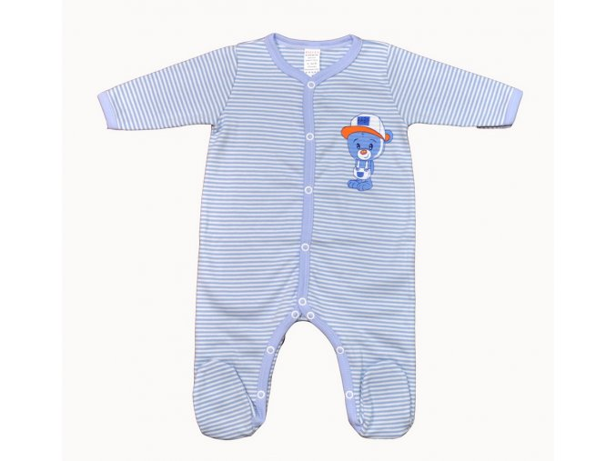 overal 62 medvidek baby prouzky modre