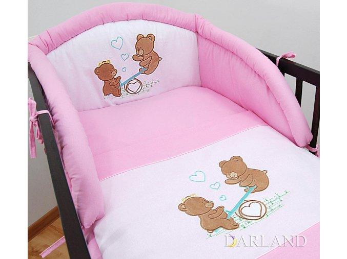 Darland 3-dílná sada s výšivkou medvídek na houpačce růžová