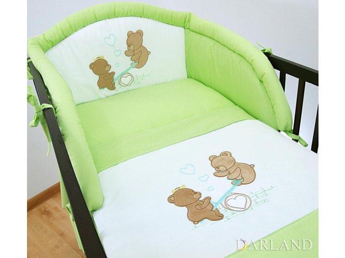 Darland 3-dílná sada s výšivkou medvídek na houpačce zelená