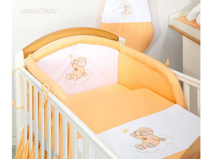 Mamo Tato 3-dílná sada s výšivkou medvídek na obláčku oranžový 120x90