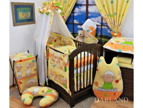 Dětské povlečení na polštář a přikrývku - Ovečky oranžové-žluté provedení