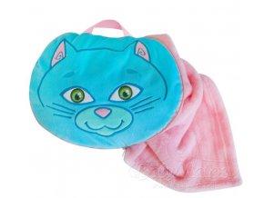 Baby Matex Sami deka 2v1 75x100 cm Modro růžová kočka
