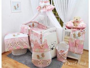 Dětské povlečení na polštář a přikrývku - sada s výšivkou medvídek na houpačce patchwork růžový
