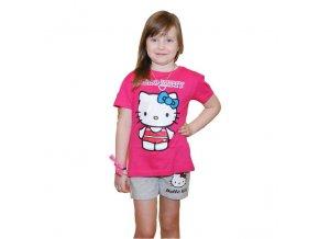 Bavlněné tričko Hello Kitty tm.růžové 128/134