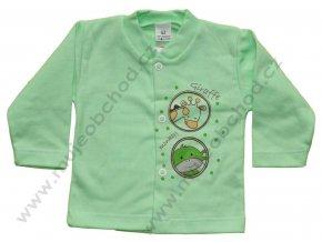 Bavlněný kabátek s žirafkou a opičkou zelený vel.62